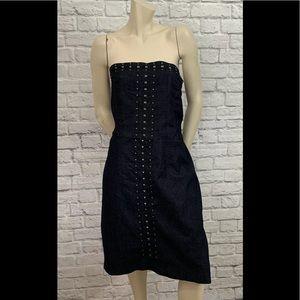 ASHLEY STEWART STUDDED BLUE JEAN STRAPLESS DRESS